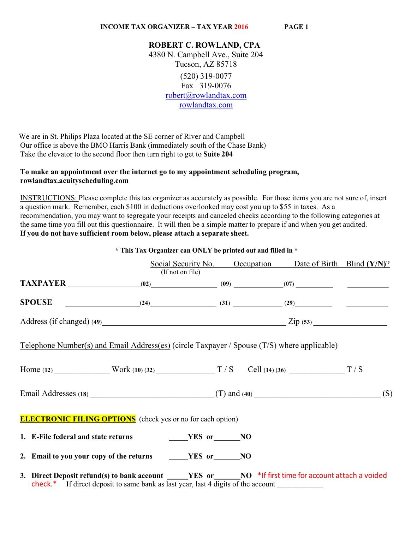 robert c rowland cpa tax organizer With 2016 tax organizer letter